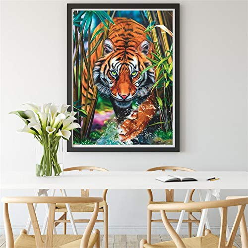 DIY 5D diamante pintura kit completo, Animal tigre Diamond Painting for adults/niños dot cristal Rhinestone punto de cruz bordado art decor de la pared del hogar Round Drill,60x80cm(24x32in)