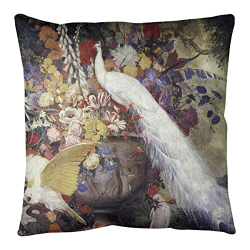 %7 OFF! ArtVerse Jessie Arms Botke White Peacock Pillow (w/Removable Insert) -Poly Twill, 14 x 14