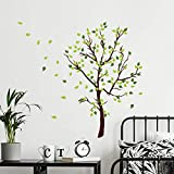 decalmile Tree Wall Decals Green Leaves Wall Stickers Living Room Bedroom Sofa TV