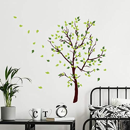 decalmile Wandtattoo Baum Wandaufkleber Grüner Blätter Wandsticker Schlafzimmer Wohnzimmer Sofa Hintergrund Wanddeko (H: 110 cm)