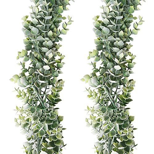 2 Pack Faux Vines Artificial Eucalyptus Garland,Fake Eucalyptus Greenery Garland Plant Wedding Backdrop Arch Wall Decor,6 Feet/Strand Fake Hanging Plant for Wedding or Festival Party Decorations