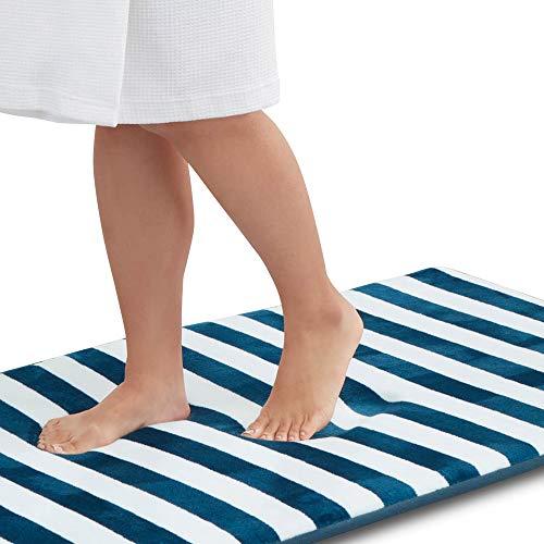 Genteele Memory Foam Bath Mat Non Slip Absorbent Super Cozy Velvet Bathroom Rug Carpet (17 inches X 24 inches, Marine Stripe)