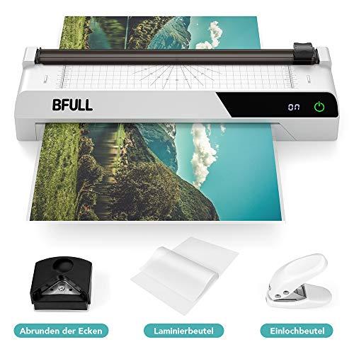 BFULL Thermo-Laminiergerät, verbesserter 6-in-1 Multifunktions-A3-Laminator mit Touchscreen, Papierschneider, 40 Laminierfolien, Eckenrunder, Locher, geeignet für Büro/Schule/Heimgebrauch(Weiß)