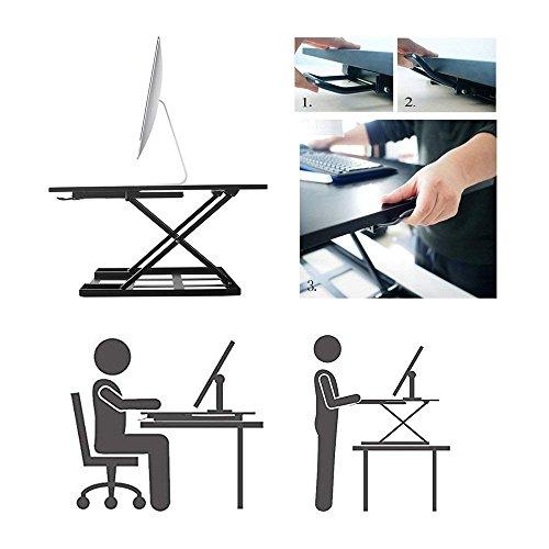 Standing Desk Stand Up Desks Height Adjustable 32 inch Sit Stand Converter Dual Monitor Ergonomic Air R   iser Laptop Stands Large Rising Desktop Computer Table Workstation Foldable Extender Home Office