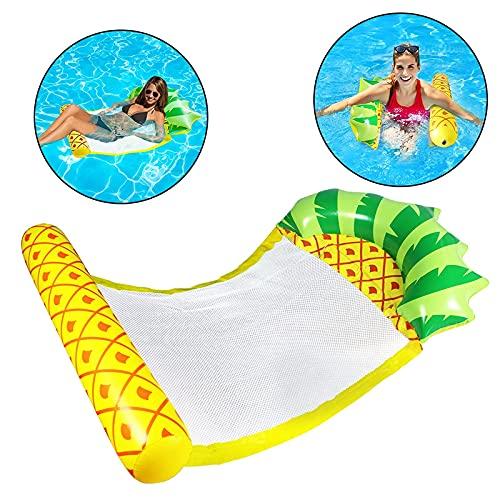 KCGNBQING Fila flotante inflable de la playa, piña portátil engrosada inflable con flotante con flotante cómodo piscina de verano Piscina sala de salón cama flotante, amarillo Juguete inflable de agua