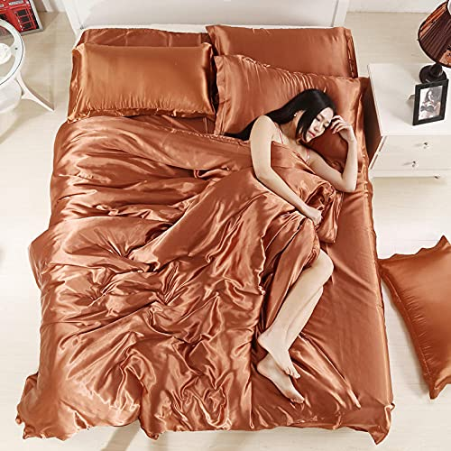 Cactuso White Cotton Duvet Cover Full-Summer solid color Tianyan four-piece simple silk smooth day silk four-piece set-Brown_1.8M bed 4 pieces