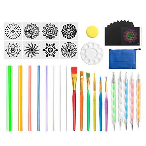 Gesh Juego de herramientas de punteado de mandala para pintar rocas, cerámica, portátil, multifunción, kit de puntos, juego de herramientas de puntos, trabajo a mano