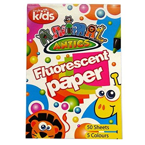 Fluorescente art bloc A4 enfants - 50 feuilles en 5 couleurs (orange, bleu, jaune, vert et rouge) - Animal Antics