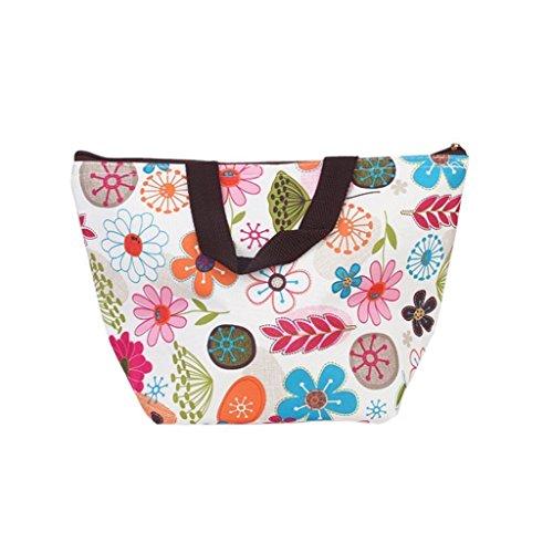 TaoNaisi étanche pique-nique déjeuner Sac étui Tote Sacs réutilisables isotherme Cooler Voyage Zipper Organisateur Box pour femmes Hommes enfants filles garçons adultes (Colorful Floral)