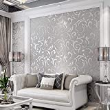 3D Decorative Wallpaper for Bedroom, Matte Silver Flower Wall Paper Metallic Wallpaper for Kitchen Decoration and TV Background in The Living Room