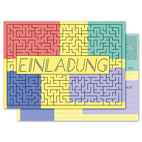 Any Age Art Labyrinth Einladungskarten mit Umschlägen Set 12 - Kindergeburtstag Einladungen Kinder Mädchen Jungen Geburtstag Karten Feier Party Game (12 Einladungskarten + 12 Umschlägen)