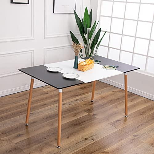FURNITABLE Mesa de Comedor o Cocina, Mesa Rectangular Diseño Nordico y Patas de Madera de Haya, Blanco & Negro, 160 x 80 cm