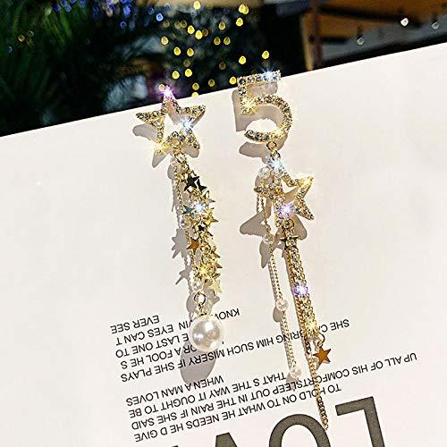 ZSCZQ Big Pearls Lucky Number 5 full Rhinestone Earring Long Tassels Pentagram Asymmetry Drop Earrings Gold