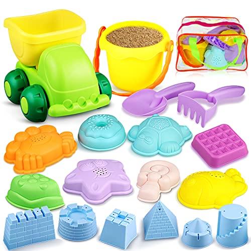 Yojoloin Sandspielzeug Set 18pcs Strandspielzeug mit Schaufel Eimer Sand Auto Sandförmchen Burg Meerestiere Strand Garten Sandkasten Spielzeug mit Tasche für Kinder Mädchen Junge