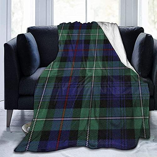 Manta ultra suave de forro polar negro duradero reloj tartán manta manta suave cálida para cama, sofá, oficina, sala de estar, decoración del hogar, 127 x 152 cm