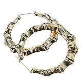 Pendientes de oro de aleación de bambú de moda aro redondo para niñas 9 cm