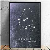 Mxibun Carteles Constelaciones Lienzo Acuario Pintura Arte Abstracto Nebulosa Arte De La Pared Imágenes Para Impresiones De La Sala Decoración-50X70Cmx1 Sin Marco