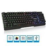 Gaming-Tastatur mit Regenbogen-LED-Hintergrundbeleuchtung, halb-mechanische Gaming-Tastatur, USB-Passthrough & Media Controls, 19 Tasten, Anti-Ghosting, wasserdicht mit Handgelenkauflage für Video-Spiele, PC, Windows, Mac