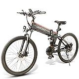 Bicicleta de Montaña 26' para Mujeres y Bici Eléctrica de Ciudad 350/500W Motor, Batería De Iones De Litio Extraíble De 48V 10Ah, hasta 35km/h, per Neve, Montagna, Sabbia,500W-Black