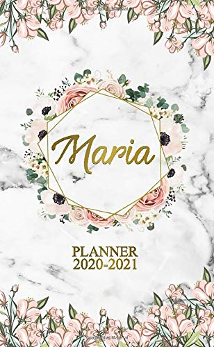 Maria 2020-2021 Planner: Grey Marble & Floral 2 Year Monthly Pocket Planner, Organizer & Agenda - Phone Book, Password Log & Notes - Cute Golden Two-Year (24 Months) Personal Girl Name Calendar.