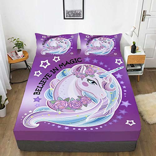 Home of Hailing Unicorn Fitted Sheet Purple Dream Unicorn Bed Sheet for Girls Full Size Kids Rose Unicorn Flower 1 Fitted Sheet with 2 Pillowcases ,Dreamy Cartoon Unicorn Fitted Sheet Set