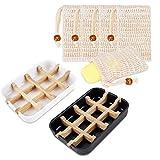 cyh 2 pezzi portasapone in legno di bambu naturale con 5 pezzi sacchetti per sapone 100% sisal naturale, porta saponetta con vaschetta raccogli gocce in fibra di bamboo, per bagno doccia cucina