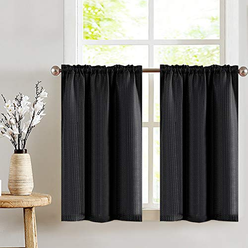 jinchan Short Curtains Waffle Woven Textured for Kitchen Rod Pocket Window Covering for Bathroom 36 x 24 Black Two Panels