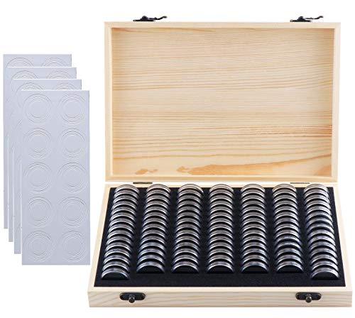 Litensh 100 soportes para monedas de madera con cápsulas redondas de plástico, organizador de monedas para coleccionistas de monedas de 18 mm/21 mm/25 mm/27 mm/30 mm