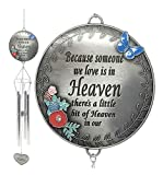 BANBERRY DESIGNS Memorial Wind Chimes - Because Someone We Love is in Heaven - Butterfly and Flower Design Garden Wind Chime Heart Charm - in Loving Memory Condolence - Wind Chimes Outdoor Sympathy