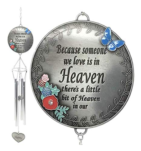 BANBERRY DESIGNS Windspiel mit Herz-Anhänger Because Someone We Love is in Heaven There a Little Bit of Heaven in Our Home Spaying
