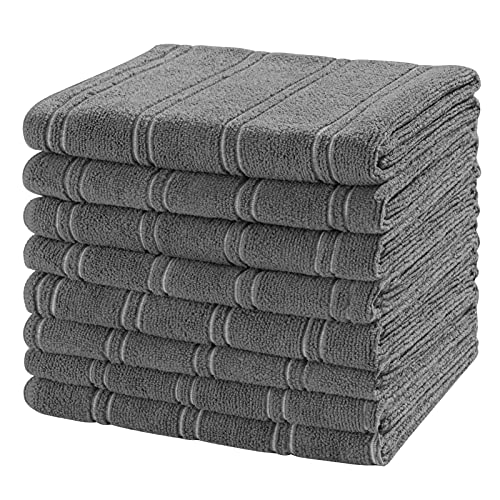 Microfiber Kitchen Towels, 26 x 18 Inch Super Soft and Absorbent Dish Towels Set - 8 Pack Kitchen Hand Towels Tea Towels with Hanging Loop, Stripe Designed Dark Grey