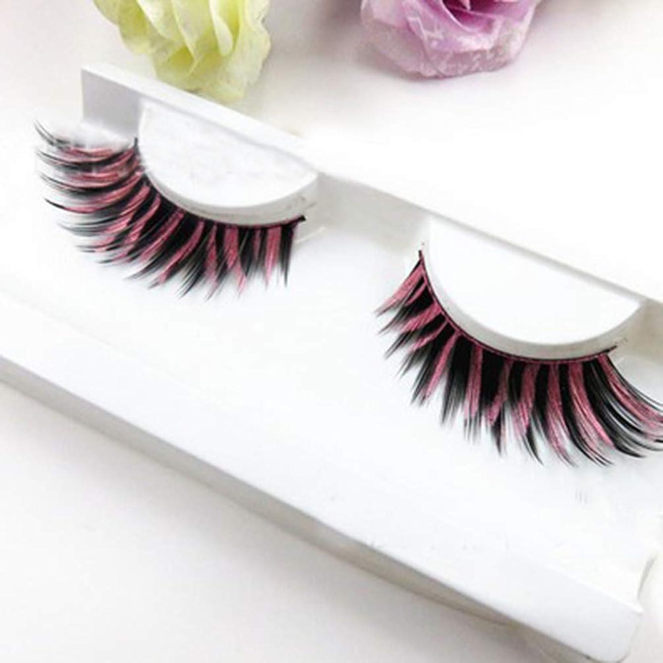 (ライチ) Lychee (ライチ) Lychee 2ペアはいり つけまつげ ピンク色 混色 色つき 濃密 柔らかい 誇張 欧米スタイル ふんわりロング 手作り パーティー用 ステージメイク 長持ち
