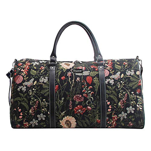 Signare Gobelin-Gepäcktasche für Reisen und Sport/große Reisetasche für Damen Sporttasche Damen mit Garten Designs (Morgengarten Schwarz)