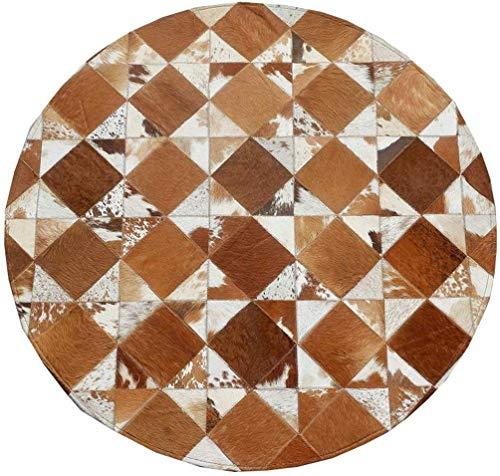 Kuhfell Nähte Runde Teppich Schlafzimmer Wohnzimmer Persönlichkeit Kreative Geometrische Muster Einfache Europäischen Haushalt Teppich (Braun Weiß Plaid) (größe : Diameter 140cm)