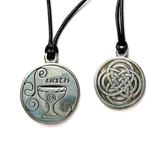 Creative Ventures Jewelry Uath, Celtic Astrology Two Sided Pewter Pendant on Cord Necklace