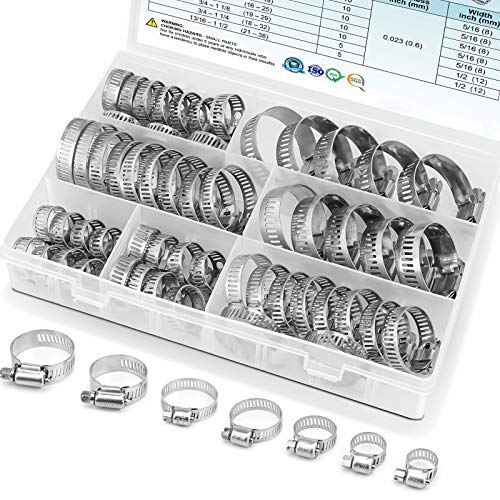 TICONN 60PCS Hose Clamp Set - 1/4''–1-1/2'' 304 Stainless Steel Worm Gear Hose Clamps for Pipe, Intercooler, Plumbing, Tube and Fuel Line