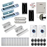 Visionis FPC-8134 Two Doors Access Control Electromagnetic Lock Inswinging Door 300lbs TCP/IP Wiegand Controller Box, Outdoor Weatherproof Keypad/Reader, Software Included 10000 Users, with PIR Kit