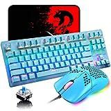 Teclado mecánico para videojuegos, 3 en 1, con cable mini 87 teclas, interruptor azul, teclado mecánico con 8 modos de retroiluminación arcoíris, 29 teclas antifantasma +6400DPI ratón de panal ligero