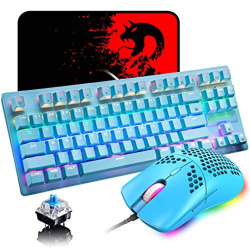Hoopond Wired Gaming Keyboard Mausset, Mini 87 Tasten Mechanische Kompakttastatur mit blauem Schalter, 8 Rainbow Backlit-Modus, 29 Tasten Anti-Ghosting + 6400 DPI, Leichte Gaming-Maus + Mauspad