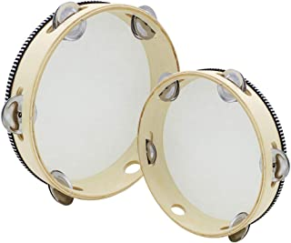 2 Pieces Handheld Tambourine, Uspacific Wood Tambourines with Jingel Bells, Kids Adults Educational Musical Percussion Toy for Party Dancing Games (1)