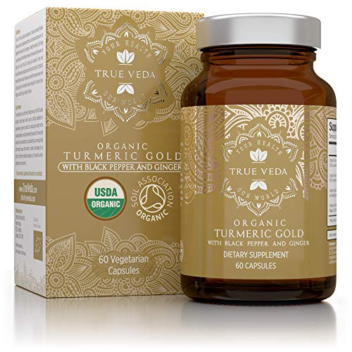 Organic Turmeric Curcumin Capsules - with Organic Black Pepper and Ginger Extracts |Certified Organic by Soil Association|CO2 Extract for Potent 100% Natural Herbal Supplement|Ayurveda| Vegan|60 Pills