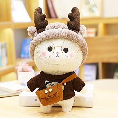 HOUMEL Kawaii Alpaca Puppet Plush Toy, Cute Baby Pillow Cushion, Cuddle Comforter Toy For Toddlers Newborns, To Accompany To Sleep, Birthday Gift & Valentine's Day 30cm 297 (Color : Brown)