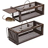 RatzFatz Rat Trap Humane Live Animal Cage, Catch and Release Mice, Rats, Chipmunks, Small Squirrels and Other Rodents, Hook Design(Pack of 2)
