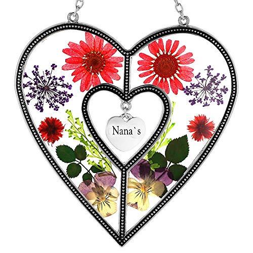 Nana`s Heart SunCatchers Sun Catcher for Windows Heart with Pressed Flower Heart - Glass Heart Suncatchers - Nana`s Gifts Gift for Mother's Day Mom for Birthdays Christmas (4.754.75-Nana`s, Nana`s)