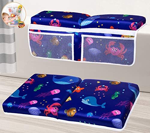 Bath Kneeler and Elbow Rest Pad Set, Extra Thick, Quick Dry Baby Bath Kneeling Pad and Elbow Rest, Bath Kneeler Baby Bathtub, Bathroom Toy Storage, Bath Kneeling Mat and Arm Rest Bundle (Blue Whale)