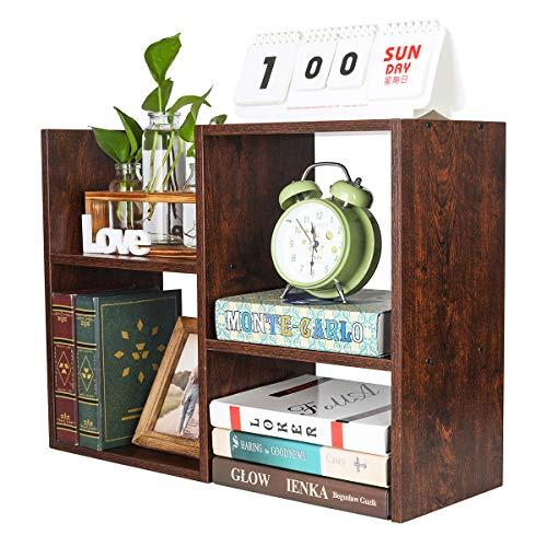 PAG Desktop Shelf Freestanding Wooden Small Bookshelf Desk Supplies Organizers and Accessories Storage Display Rack Office Dorm Decor for Women, Brown