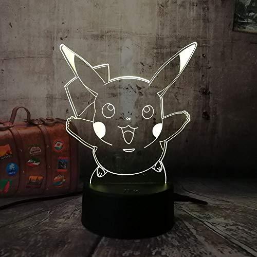 Leuke Pokemon lopen spel kerstcadeau 3d geleid nachtlampje met 7 kleuren veranderende noten-sfeer-bureauverlichting
