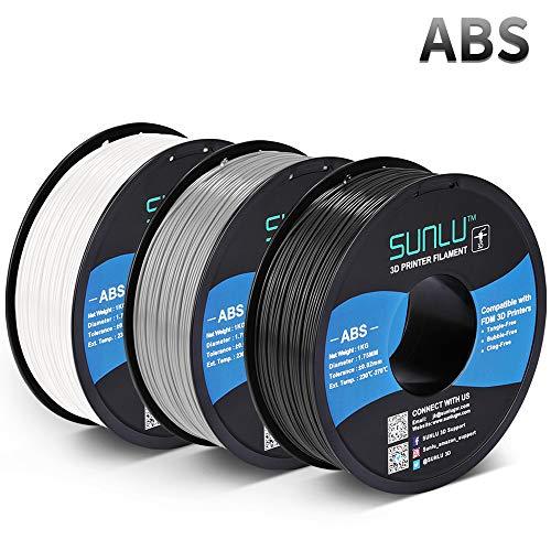 SUNLU ABS Filament 1.75mm for FDM 3D Printer, 3KG(6.6LBS) ABS 3D...