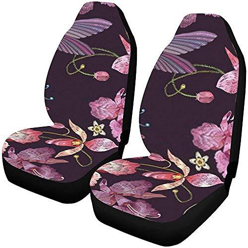 Kolibri Orchidee Autostoelhoezen, 2-delig, Exotische tropische bloemen, autostoelbeschermer, autostoelhoezen,