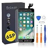 bokman für iPhone 6s Plus Schwarz Komplettes Display Ersatzbildschirm LCD Glas Touchscreen Vormontiert mit Home Button, Frontkamera und Hörmuschel